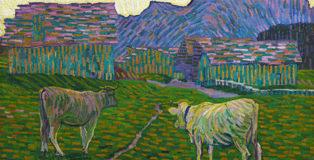 Giovanni Giacometti - Sera sull'alpe, 1908. Olio su tela, 115 x 160 cm. MASI Lugano, Collezione Città di Lugano