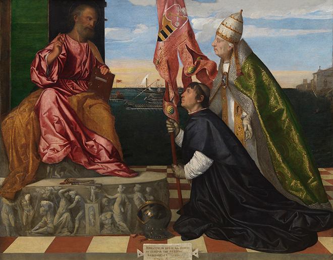 Titian, Jacopo Pesaro, Bishop of Paphos, being presented by Pope Alexander VI to Saint Peter, Royal Museum of Fine Arts Antwerp (KMSKA) © Royal Museum of Fine Arts Antwerp www.lukasweb.be – Art in Flanders, photo Hugo Maertens
