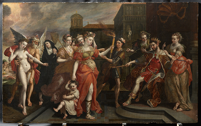 Maerten de Vos, The Calumny of Apelles, Private collection, on loan to the Rubenshuis, Antwerp © Private collection