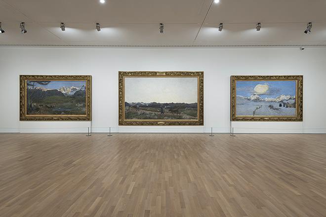 Veduta allestimento, Giovanni Segantini, Trittico della natura 1896-1899, Olio su tela, MASI Lugano - Foto Studio Pagi
