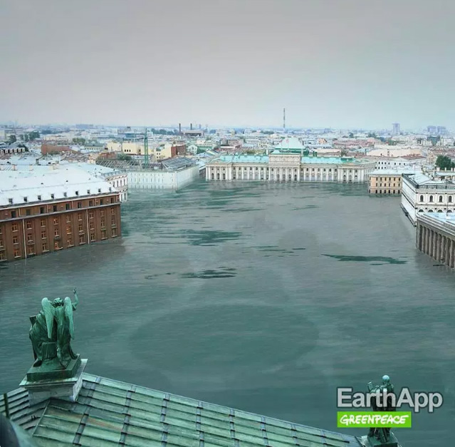 After: St Petersburg, EarthApp. Credits: Greenpeace, Isobar Moscow