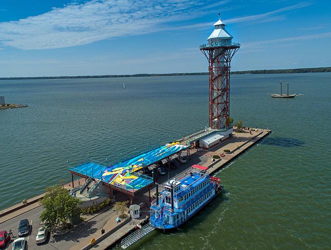 Sat One - Flotsam, Observation deck of Dobbin's Landing, Erie, Pennsylvanie. photo credit: @lake_effect_aerial