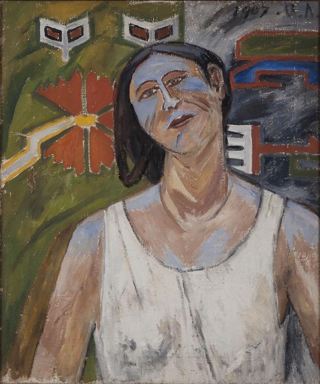 Mikhail Larionov (Tiraspol 1881-Fontenay-aux-Roses 1964) Ritratto di Natalia Goncharova 1907, olio su tela, cm 60 x 50. Collezione V. Tsarenkov. © Mikhail Larionov, by SIAE 2019