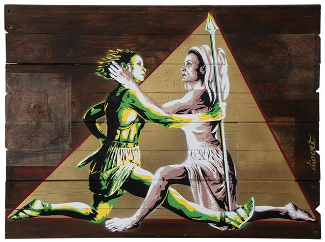 David Diavù Vecchiato - (Appia - Latina) - 100 cm x 74 cm - mixed media on wood - 2019.