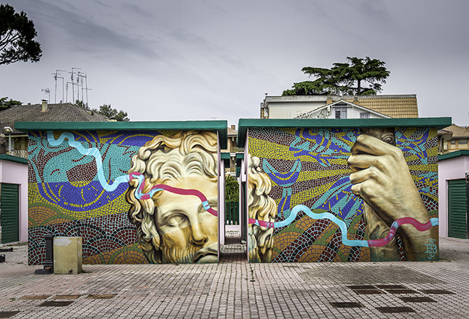 Beau Stanton - Murale al Mercato Menofilo di Roma, realizzato per il progetto MURo mARkeT nel programma del MURo Festival 2019. photo credit: Oscar Giampaoli