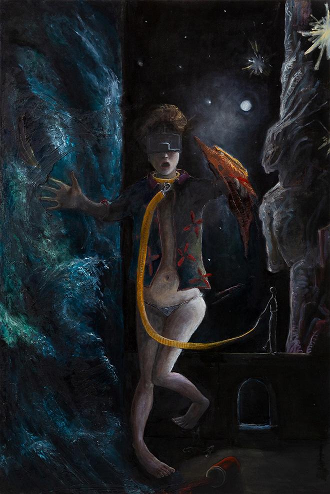 Chiara Donadei - Laika, 2018-19, tecnica mista su tela, 120x80 cm