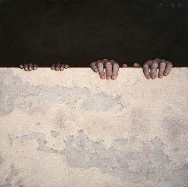 Dan Witz - Kilroy Square (two hands) oil on panel, 2018