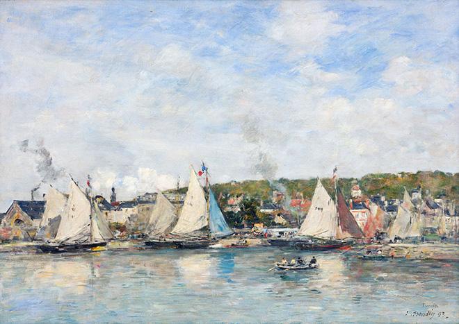 Eugene Louis Boudin - Il porto di Trouville, 1893, olio su tela