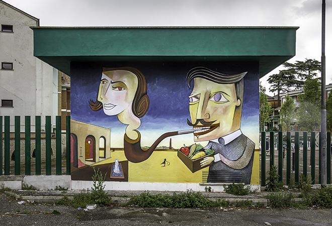 Jim Avignon - Murale per MURo mARkeT, il progetto sviluppato al Mercato Menofilo di Quarto Miglio per il VII Municipio di Roma durante il MURo Festival 2019.