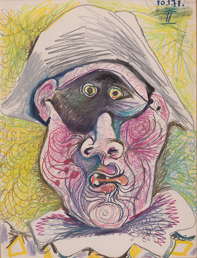 Pablo Picasso - Testa di Arlecchino II, 1971, matita e pastello su carta, 65,2 x 50,2 cm.