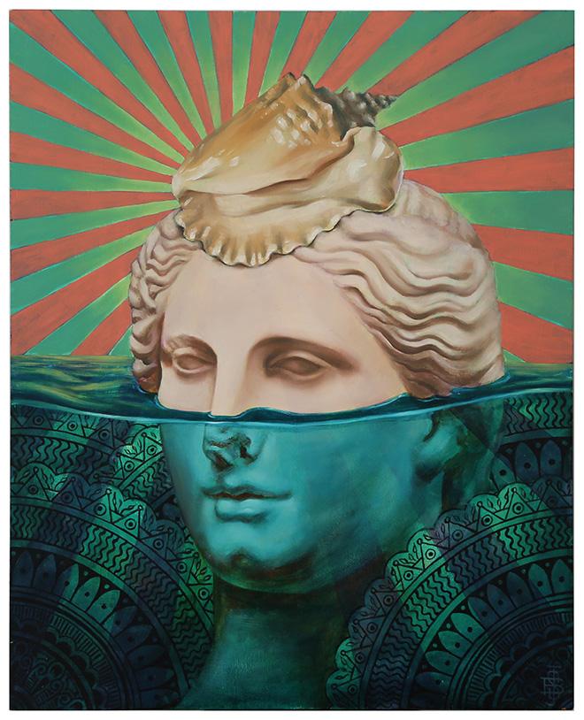Beau Stanton - Venus and the Conch - 16 x 20 inches (51 cm x 41 cm) - Oil and acrylic on panel (Olio e acrilico su tavola) - 2018