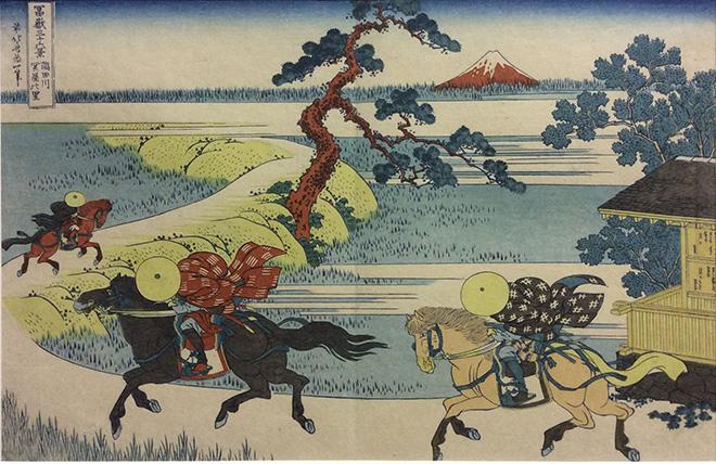 Hokusai Katsushika (1760 - 1849) Il villaggio di Sekiya sul fiume Sumida - numero 32 della Serie Le 36 Vedute del Monte Fuji. Xilografia policroma su carta da gelso - nishiki-e 1829-1833 ca. 250x376 mm.