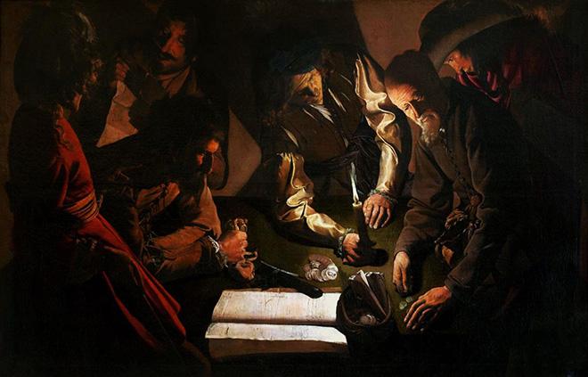 Georges de La Tour - Pagamento dei debiti, olio su tela, 99 x 152 cm, Lviv National Art Gallery, Lviv, Ucraina.