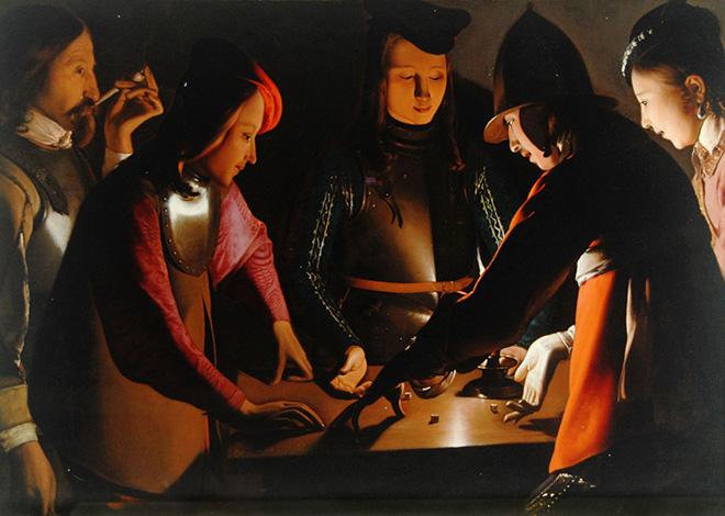 Georges de La Tour - I giocatori di dadi, 1650 - 1651. olio su tela, 92.5 x 130.5 cm. Preston Park Museum and Grounds, Stockton-on-Tees, U.K.