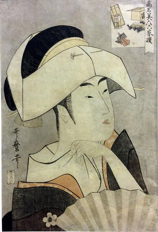 Utamaro, Kitagawa, Ritratto di Tomimoto Toyohina - della serie Le rinomate beltà delle sei migliori case, 1790. xilografia policroma su carta da gelso, 390x258 mm.