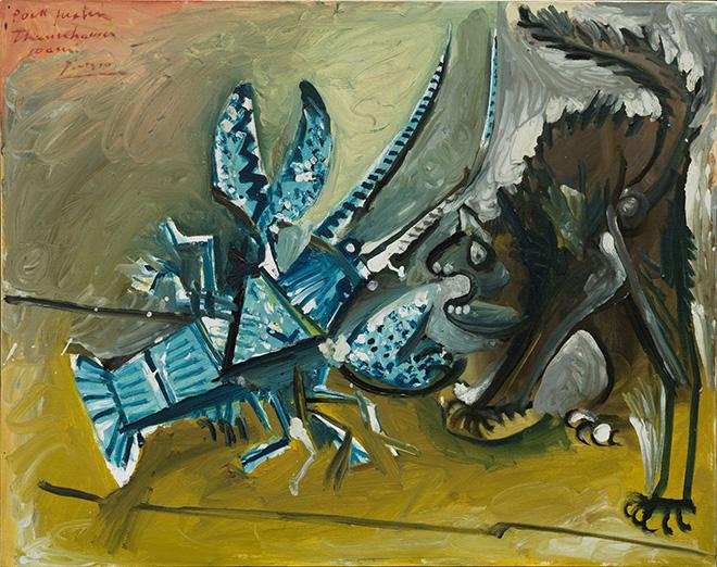 Pablo Picasso - Aragosta e gatto (Le homard et le chat), Mougins, 11 gennaio 1965. Olio e smalto (est.) su tela, 73 × 92,1 cm. Solomon R. Guggenheim Museum, New York - Thannhauser Collection, Lascito Hilde Thannhauser . 91.3916 - © Succession Picasso, by SIAE 2019.