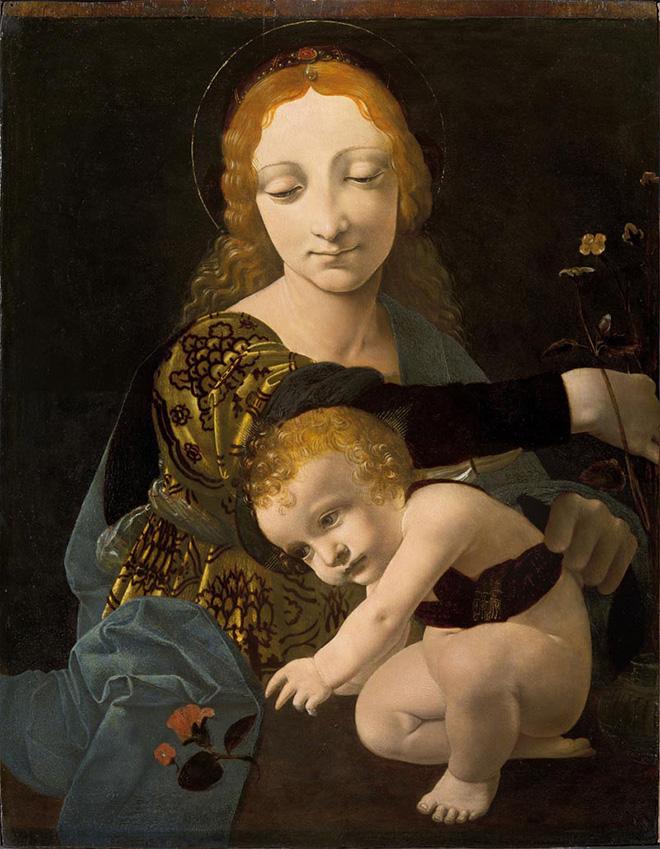 Giovanni Antonio Boltraffio (Milano, 1467 - 1516) - Madonna con Bambino (Madonna del fiore) . Olio su tavola, c. 1487 – 1488. © Milano, Museo Poldi Pezzoli, inv. 1609