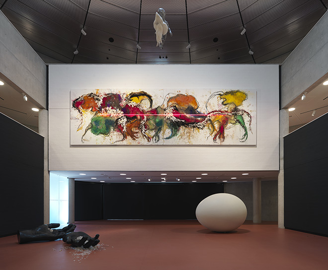 EXHIBITION_1_Koen Vanmechelen. © Enrico Cano, Teatro dell'architettura Mendrisio, interno, Università della Svizzera italiana. Architetto: Mario Botta. Mostra: Koen Vanmechelen - The Worth of Life - 1982/2019