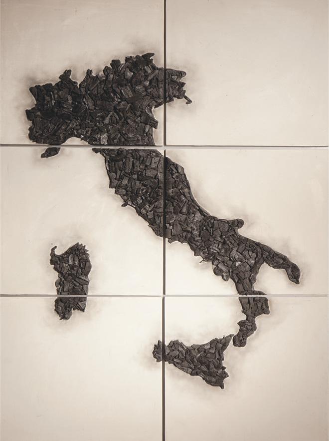 Vito Bongiorno - Fragile, 2018, cenere e carbone su tavola, 130x100 cm.