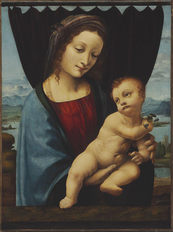 """Marco d'Oggiono (documentato dal – morto nel 1524) , Madonna con il Bambino (""""Madonna della Violette""""). Olio su tavola trasferito su tela, c. 1495 – 1498 . © Eredità della Contessa Nadia de Navarro, inv. NYCTK 490/0005/0005"""