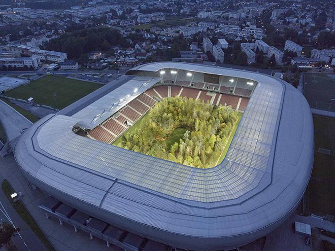 Klaus Littmann, FOR FOREST - The Unending Attraction of Nature, Art Intervention, 2019, Wörthersee Stadium Klagenfurt | Austria. Photo: UNIMO