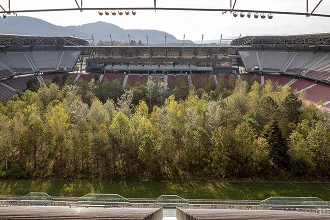 Klaus Littmann, FOR FOREST - The Unending Attraction of Nature, Art Intervention, 2019, Wörthersee Stadium Klagenfurt | Austria. Photo: Gerhard Maurer