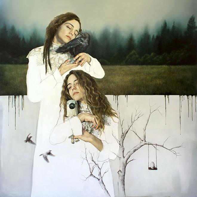 Elisa Anfuso - L'altra Eva II, olio su lino / oil on linen canvas, 180x180 cm, 2018