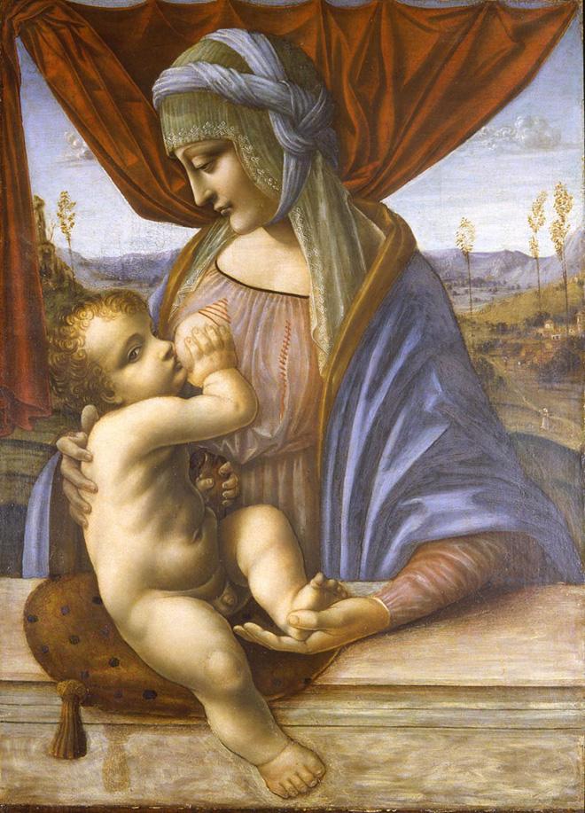 Pittore lombardo  - Madonna che allatta il Bambino, Olio su tavola di quercia, c. 1500-1510. © Milano, Museo Poldi Pezzoli, inv. 1645