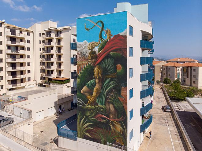 Franco Fasoli aka Jaz - San Giorgio y el terremoto, FestiWall 2019, Ragusa - via Generale La Rosa
