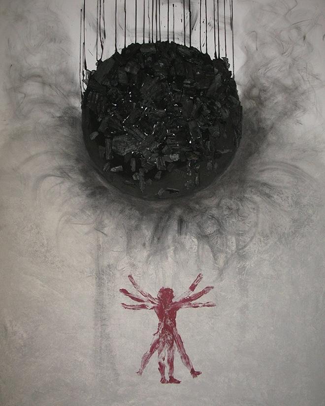 Vito Bongiorno - Tra 3000 anni, carbone e acrilico, 150x100, anno 2013
