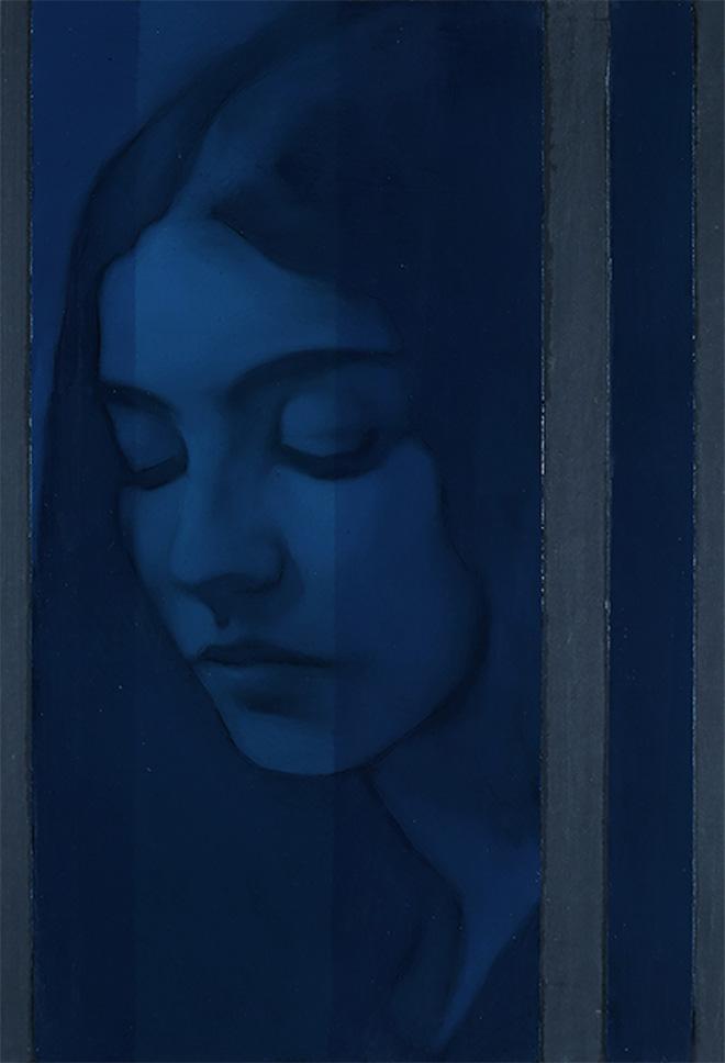 Simone Geraci - Stille, olio su ardesia, 30 x 20 cm, 2019