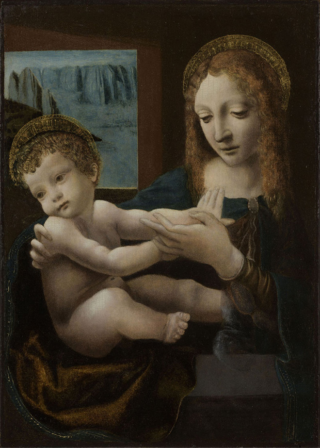 Pittore lombardo, seguace di Leonardo da Vinci - Madonna con il Bambino. Olio su tavola, c. 1505-1510, © Collezione privata