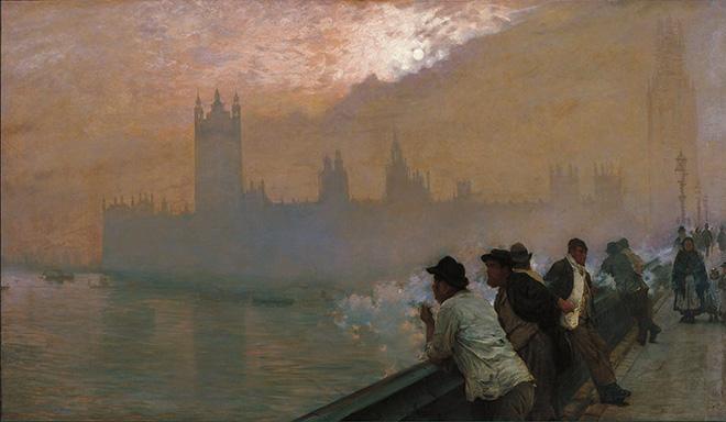 Giuseppe De Nittis: Westminster, 1878. olio su tela, cm. 110 x 192. Courtesy: Marco Bertoli