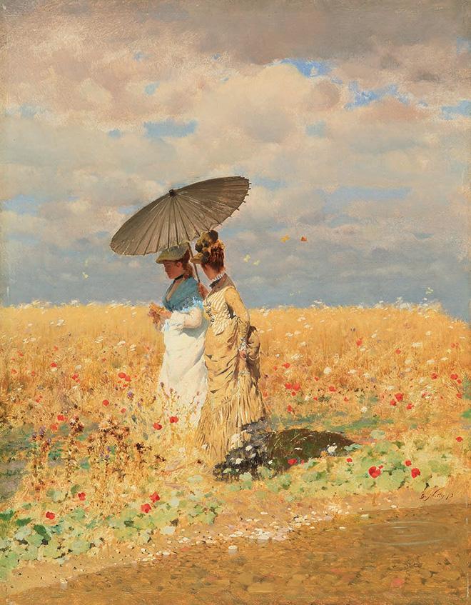 Giuseppe De Nittis: Nel grano, 1873. olio su tela, cm. 33 x 25 cm. Collezione privata