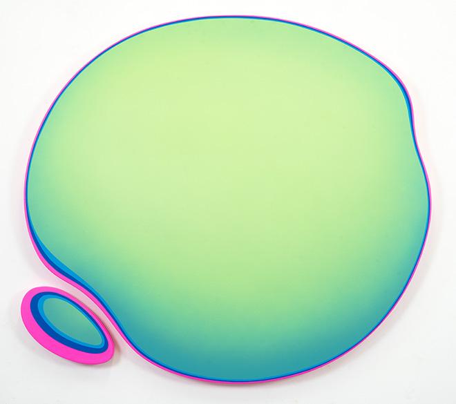 Jan Kaláb - Green Ameba, 2019, MAGMA gallery, acrylic on canvas, 120 x 130 cm