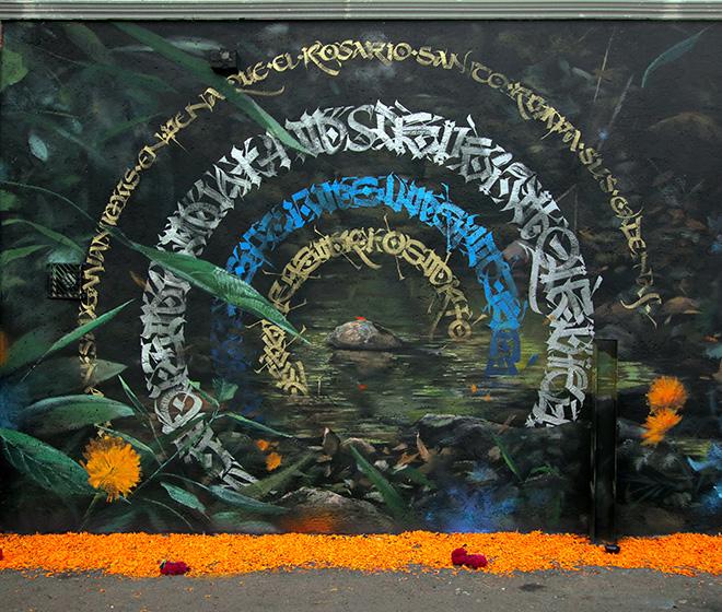 Said Dokins + Mantrarea - Mural in San Juan Tlihuaca, Città del Messico, 2019.