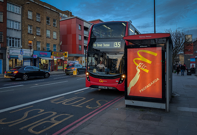 Hogre - Propaganda, installation Subvertising, London