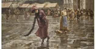 Giovanni Sottocornola - Fuori Porta, 1891, olio su tela, 135x220 cm, firmato e datato in basso a sinistra G. Sottocornola 1891. Collezione privata