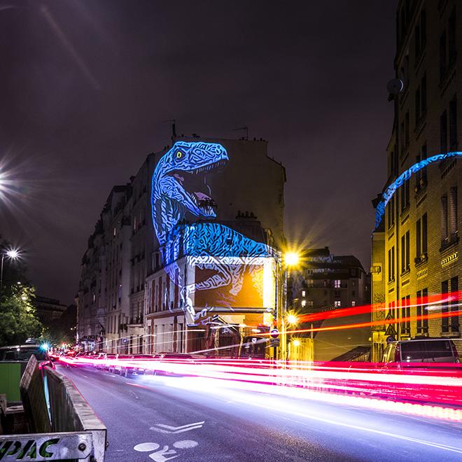 The Blue Raptor - Julien NONNON, Prehistoric Safari, Paris, ©Julien NONNON
