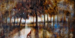 Mariarosaria Stigliano - Il sogno della volpe, olio, pigmenti e smalti su tela, 65x120cm, 2019