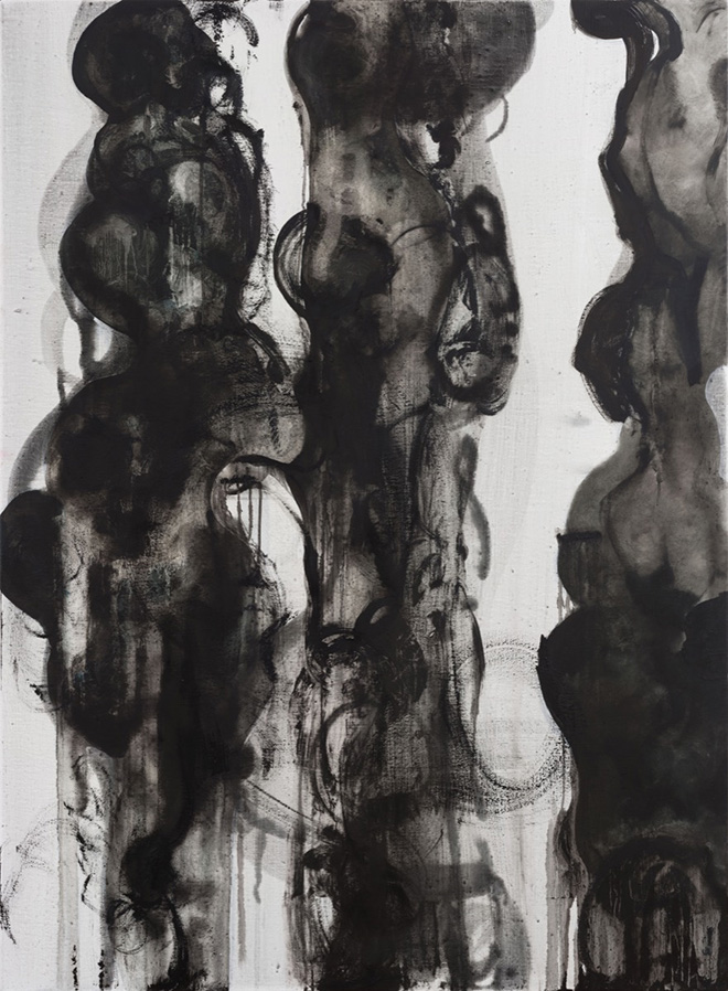 LIAO PEI - Split No.1, Oil and Charcoal on Canvas 150x110 cm. 2019