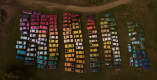 Zoer, Solara, site-specific colorama on 144 automobiles, 2019
