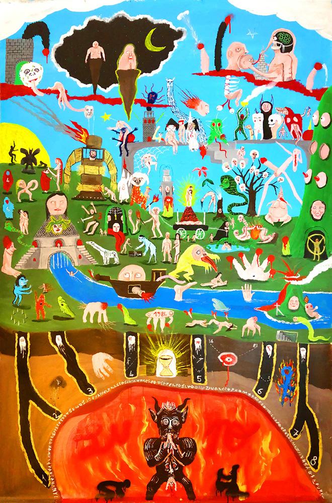 Tommaso Buldini - Amore degli amanti, acrilico su tela, 210x130 cm.