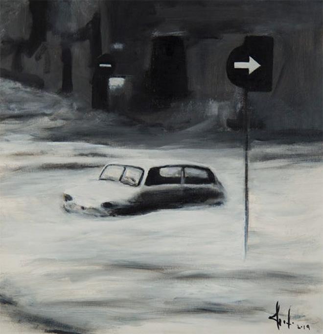 Elfo - Firenze '66, 2019. Tecnica mista su tela, 50x50 cm