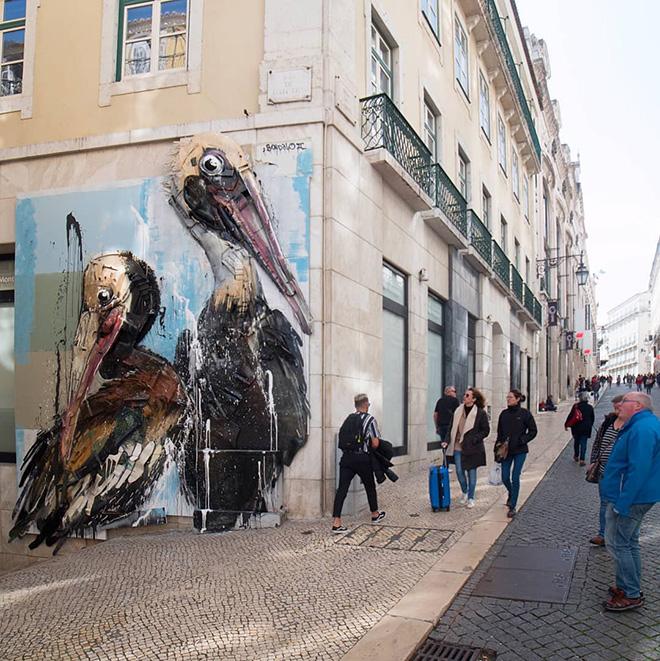 Bordalo II - Pelicans, Lisbon, 2020. photo credit: Mike Doorline