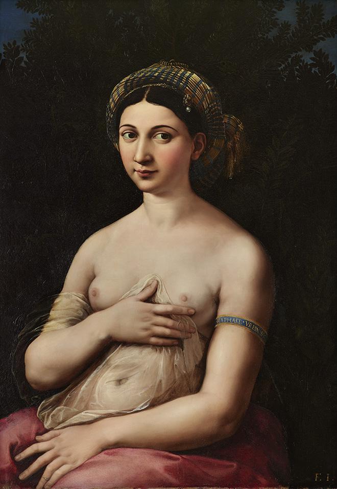Raffaello - Ritratto di donna nei panni di Venere (Fornarina), Portrait of a woman in the role of Venus (Fornarina) 1519-1520 circa, olio su tavola / oil on wood panel, Roma, Gallerie Nazionali di Arte Antica - Palazzo Barberini.