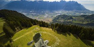 Saype - Beyond Crisis, Land Art, Switzerland. photo credit: Valentin Flauraud (@vflpix)