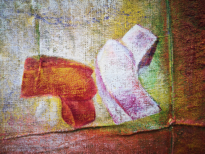 Wilhelm Senoner - Il Bacio, 2020 Mixed media, acrylic and earth colors, glue on Juta 50 x 50 x 4 cm, 19.69 x 19.69 x 1.57 in