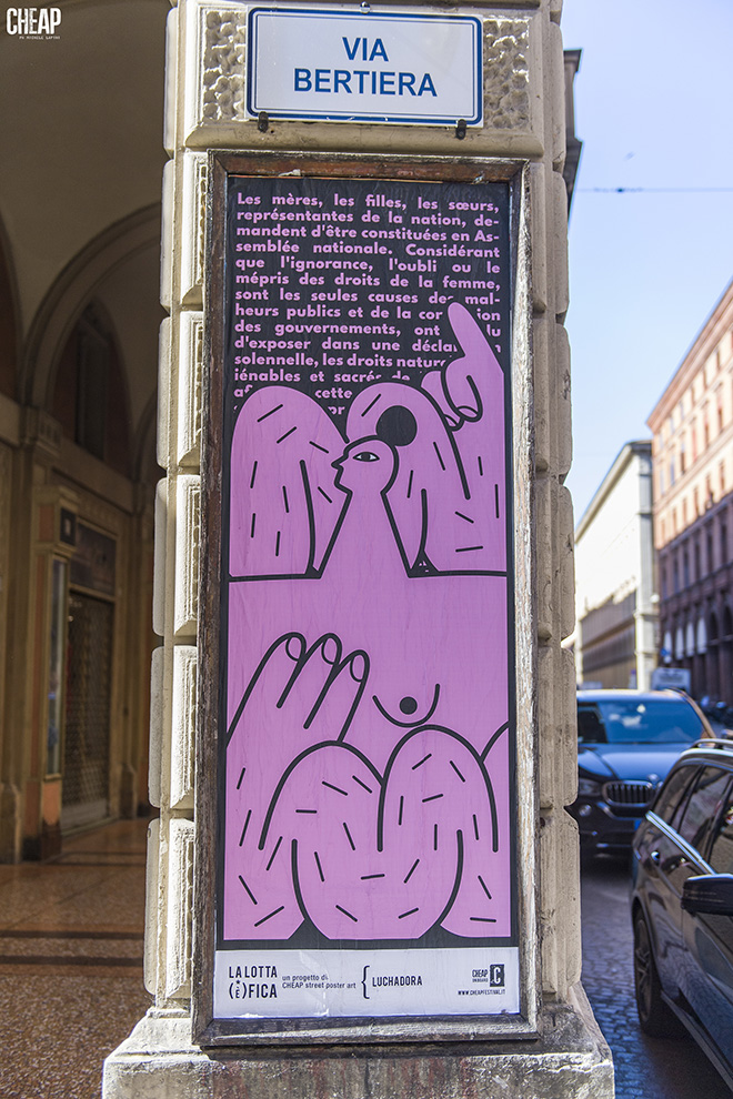 Luchadora - La lotta è FICA, Bologna, 2020. Un progetto di public art di CHEAP. photo credit: Michele Lapini
