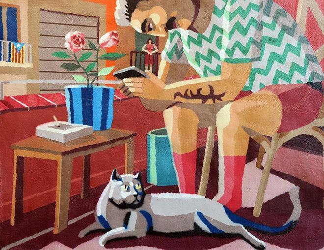 Franco Fasoli - Contacto Visual, 2020, Paper pulp on canvas, 90x110 cm, MAGMA gallery